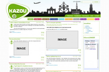 The front page of the website for registered users.